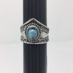 Silver Tone Faux Turquoise ring size 6 3/4